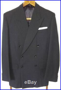 Vintage Bespoke Tailored Mens Double Breasted Suit CharcoalGrey 1940/50s 38Chest