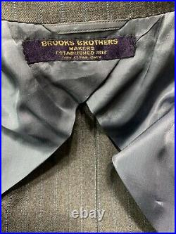 Vintage Brooks Brothers Wool Gray Blue Striped Suit Mens 42 R Made In USA