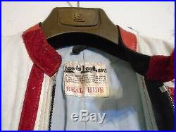 Vintage Distressed 80's Aviakit Lewis Leathers Motorcycle Racing Suit Size 38