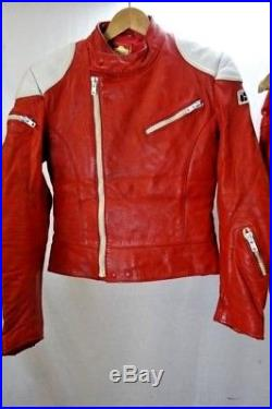 Vintage IXS Red Cafe Racer Motorcycle Suit Two Piece Leather 36R EU46 KB184