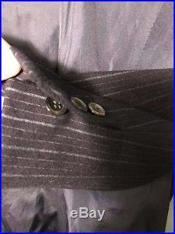 Vintage Italian wool and cashmere navy bespoke striped suit size 38