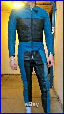 Vintage Leather Racing Leathers Motorcycle Racing Suit Size 38 Clix 2 Way Zip
