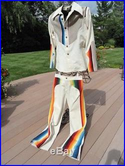 Vintage Men's 1975 Aspenglo Aspen Colorado 2 Piece Suit Rainbow Colors Handmade