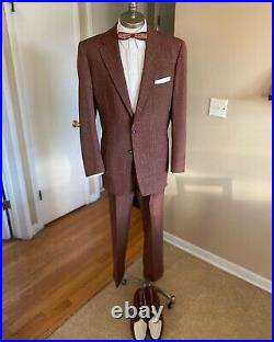 Vintage Men's 50s Brown Atomic Flecked Single Breasted Suit