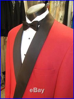 Vintage Mens Red Double Breasted Tuxedo 4 Pcs 41r #223