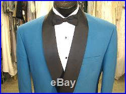 Vintage Mens Teal Double Breasted Tuxedo 4 Pcs 40r