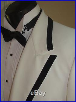 Vintage Mens White Notch Tails Tuxedo Black Border Lord West 43r