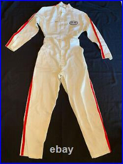 Vintage NOS Coverall Racing Overalls Suit CREWALL WORTH Size 40 Checkered Flags