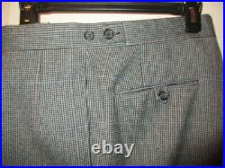 Vintage Polo Ralph Lauren Houndstooth Check Wool Gray Suit Jacket Pants 40 R