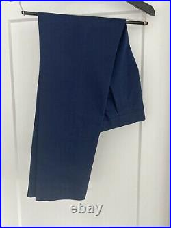Vintage Spring 2016 J Crew Ludlow Double Breasted Admiral Blue Chino Suit 38s