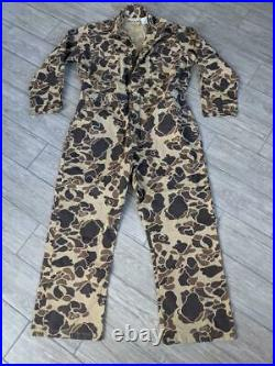 Vintage USA made CABELAS camouflage COVERALLS frogskin XL hunting 1pc suit