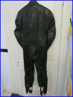 Vintage Vanson two piece motorcycle suit 38r jacket 30 pants black armor lined