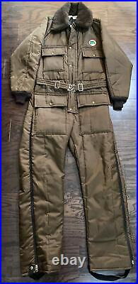 Vintage Walls Blizzard Pruf Snow Snowmobile Ski Suit BROWN Belted Mens Small Vtg