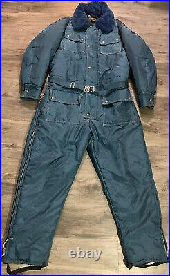 Vintage Walls Blizzard Pruf Snow Snowmobile Ski Suit Blue Belted Mens XXL Tall
