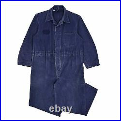 Vintage Workwear Coverall Indigo Blue Denim French Overalls Boiler Suit S / M