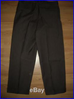 Vtg 40 50s Mens 42 Wool Brown Pinstripe Three Button Suit Coat Jacket Cuff Pants