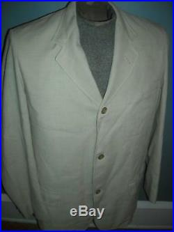 Vtg 40s 50s Mens 42 Brooks Brothers Linen Cotton Three Button Suit Jacket Pants