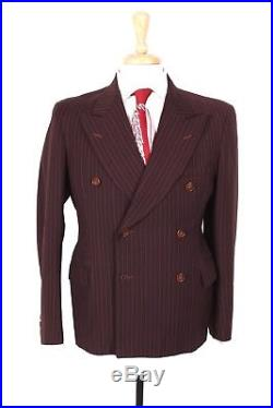 Vtg 40s Rockabilly Wool Pin Striped Double Brested Suit Mens Size 38