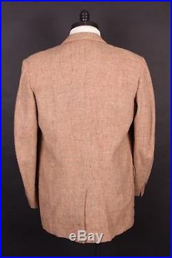 Vtg 50s 3 Button Wool Suit With Fleck Mint! USA Mens Size 46 Long