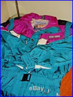 Vtg 80s 90s HARD CORPS Mens 2XL One piece Snow SKI Suit Purple Blue White XXL