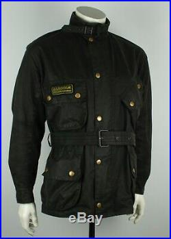 Vtg Barbour A7 International Suit Waxed Motorcycle Black Jacket Size C46/117CM