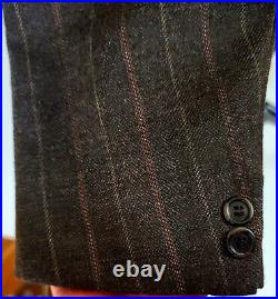 Vtg Brooks Brothers Tweed Wool 3 Piece Suit Brown Chalk Striped 3/2 Roll 38 39 R