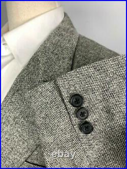 Vtg Grays Gary Wasserman Syd Jerome Double Breasted Tweed Flannel Suit sz 38 R