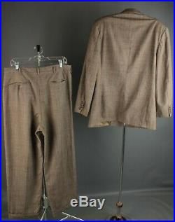 Vtg Men's 1940s Double Breasted Suit Jacket 40 Pants 34x30 40s Houndstooth #6509
