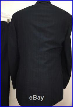 Vtg Palm Beach Mens Double Breasted 2pc Suit Sz 40r Navy Stripe W34xl29 Pleated