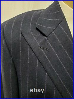 Vtg Polo Ralph Lauren LN Navy Wool Cashmere Double Breasted Suit Italy 42L