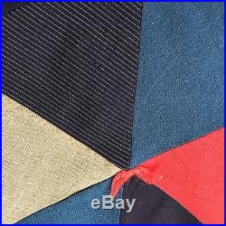 Vtg Quilt Triangles Wool Mens Suit Fabrics Flannel Back 90 x 70