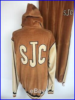 Vtg SEAN JOHN Collection Mens Velour Track Suit Embroidered Spellout Tan Brown L