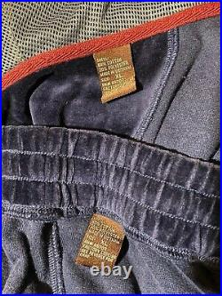 Vtg Snoop Dogg Velour Sweat Suit Hooded Jacket Pants 2 Piece Leather Accent 3XL