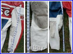 Weise mens vintage white red blue leather one piece bike racing suit 40 chest L
