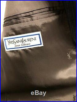 Ysl yves saint laurent vintage mens 2 pc suit double breasted size 40r gray blue