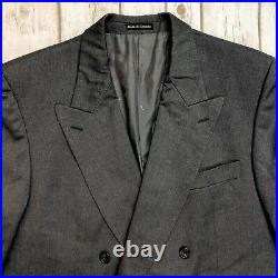 Yves Saint Laurent 44R Wool Suit Double Breasted 36x30 Pleated Gray Vintage YSL
